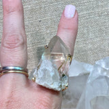 Green Tourmaline in Quartz Ring #22