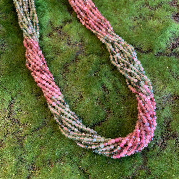 Pink and Green Tourmaline Strands - 3mm Round