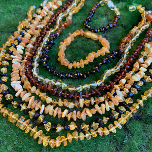 Natural Baltic Amber Teething Necklaces and Bracelets/Anklets