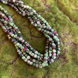 Ruby Zoisite Strands - Faceted Cubes