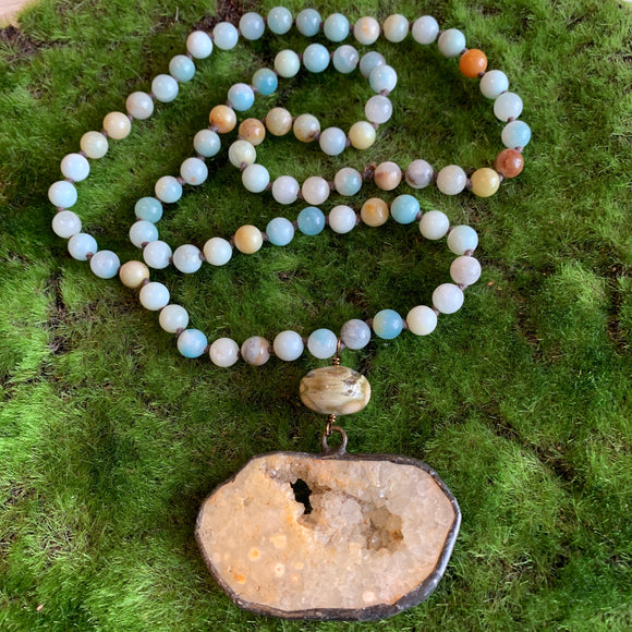 Amazonite Necklace with Ocean Jasper and Honey Calcite Pendant