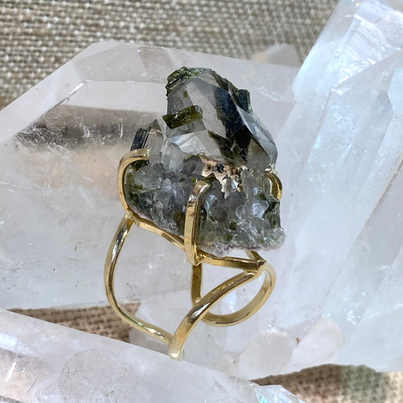 Green Tourmaline in Quartz Ring #15