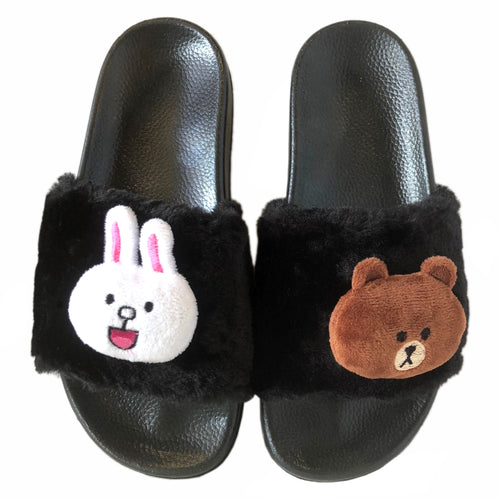 Brown and Cony Slippers-Black