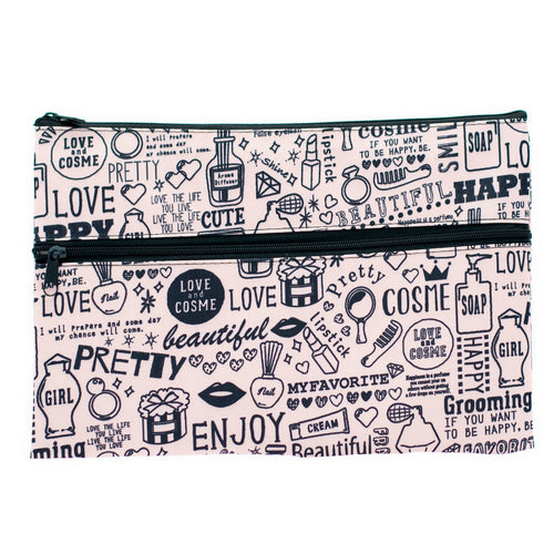 Black Patterned Travel Pouch