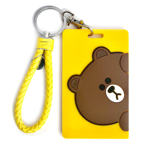 Brown ID Card Holder-Yellow