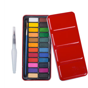 24-Color Watercolor & Brush Set