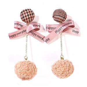 ESN028-Pink Pom Pom Earrings