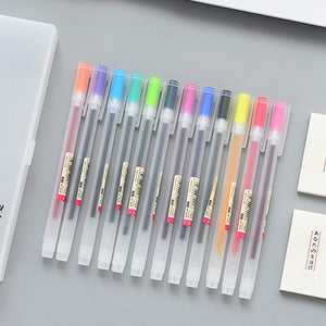 Japan Style Gel Pen 0.5mm Color Ink Pen / 12 Pcs