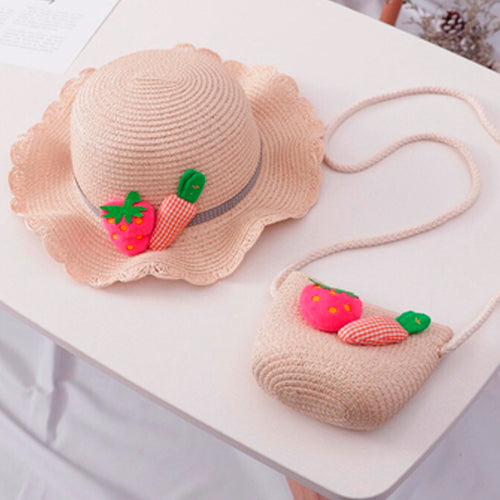 Summer Strawberry - Hat and Bag/Light Pink