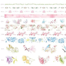 Load image into Gallery viewer, Natural Washi Tape- Romantic Flower Pattern