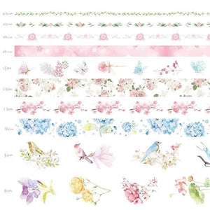 Natural Washi Tape- Romantic Flower Pattern