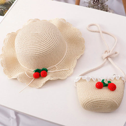 Summer Cherry - Hat and Bag/ Milky white