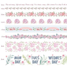 Load image into Gallery viewer, Natural Washi Tape- Flower Pattern ( Rose )
