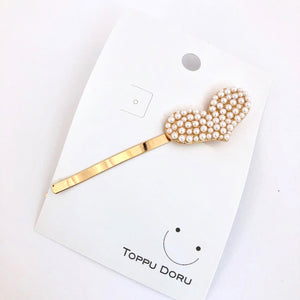 Heart-Shaped Beaded Pearl Hair Clip