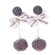 Load image into Gallery viewer, ESN027-Checkered Pom Pom Earrings