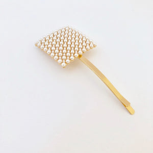 Rectangular Beaded Pearl Hair Clip
