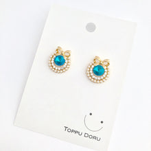 Load image into Gallery viewer, ESN031-Turquoise Blue Jewel Earrings