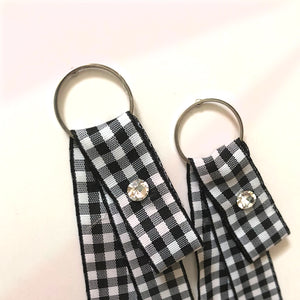 ESN043-Checkered Ribbon Earrings