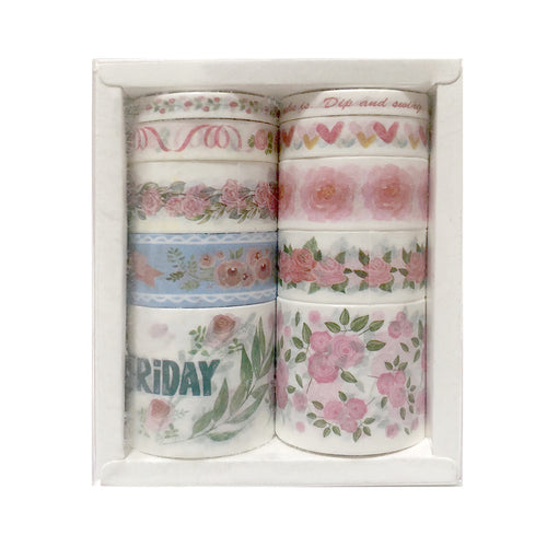 Natural Washi Tape- Flower Pattern ( Rose )
