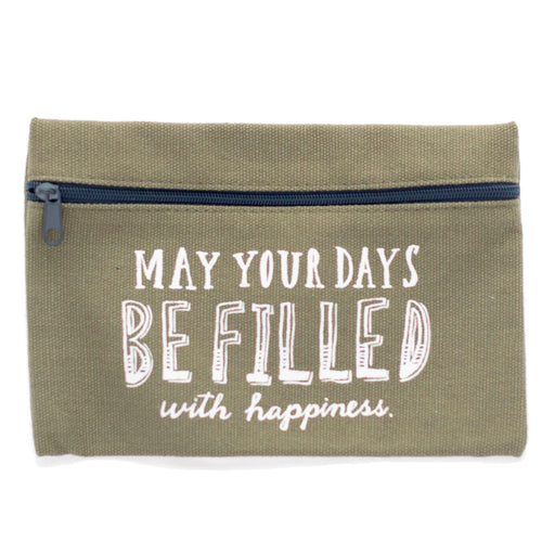 Small Beige Canvas Pouch