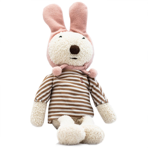 Rabbit Doll in Brown Striped Hoodie
