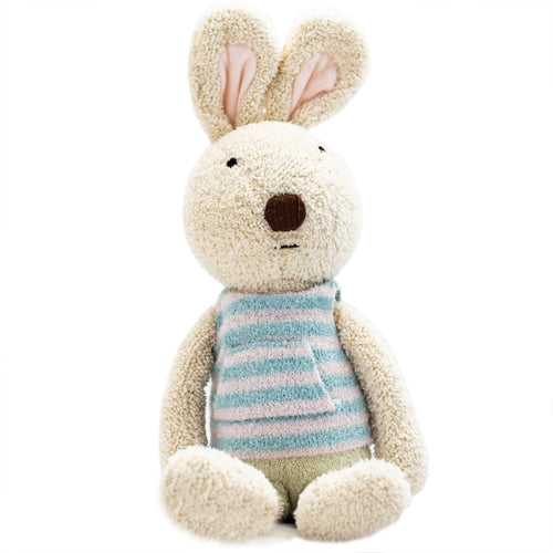 Rabbit Doll in Blue Striped Shirt