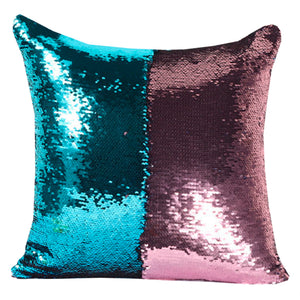 Home Accents Two-Tone Sequin Square Throw Pillow in Pink & Blue Cover