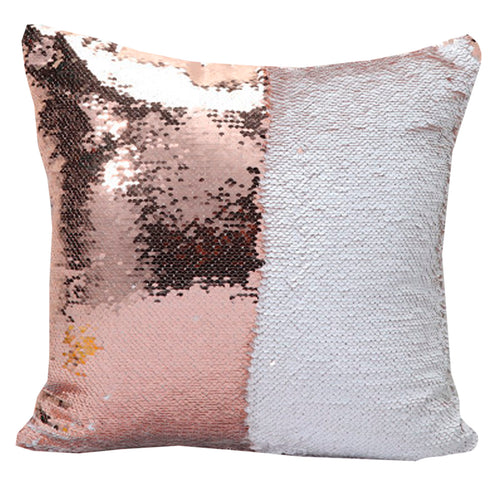 Home Accents Two-Tone Sequin Square Throw Pillow in White & Champagne Cover