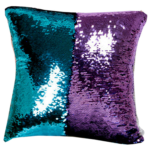 Home Accents Two-Tone Sequin Square Throw Pillow in Blue & Purple Cover