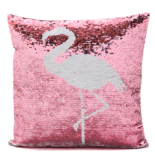 Flamenco Two-Tone Sequin Square Throw Pillow in Pink and White Cover