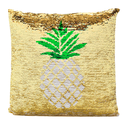 Pineapple Two-Tone Sequin Square Throw Pillow Cover