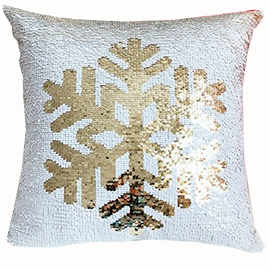 Snowflake Two-Tone Sequin Square Throw Pillow Cover