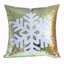 Load image into Gallery viewer, Snowflake Two-Tone Sequin Square Throw Pillow Cover
