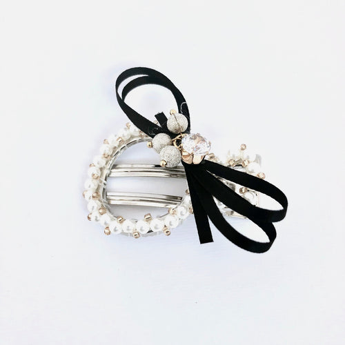 Black Ribbon Wrapped Hair Clip with Pearls