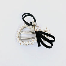 Load image into Gallery viewer, Black Ribbon Wrapped Hair Clip with Pearls