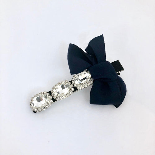 Black Jewel Ribbon Hair Clip
