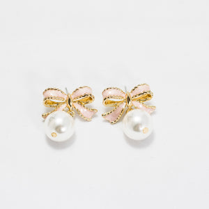 ESN041-Ribbon Pearl Earrings