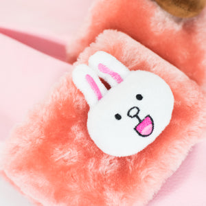Brown and Cony Slippers-Pink