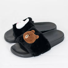 Load image into Gallery viewer, Brown and Cony Slippers-Black