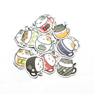 Kitty Teacup Stickers
