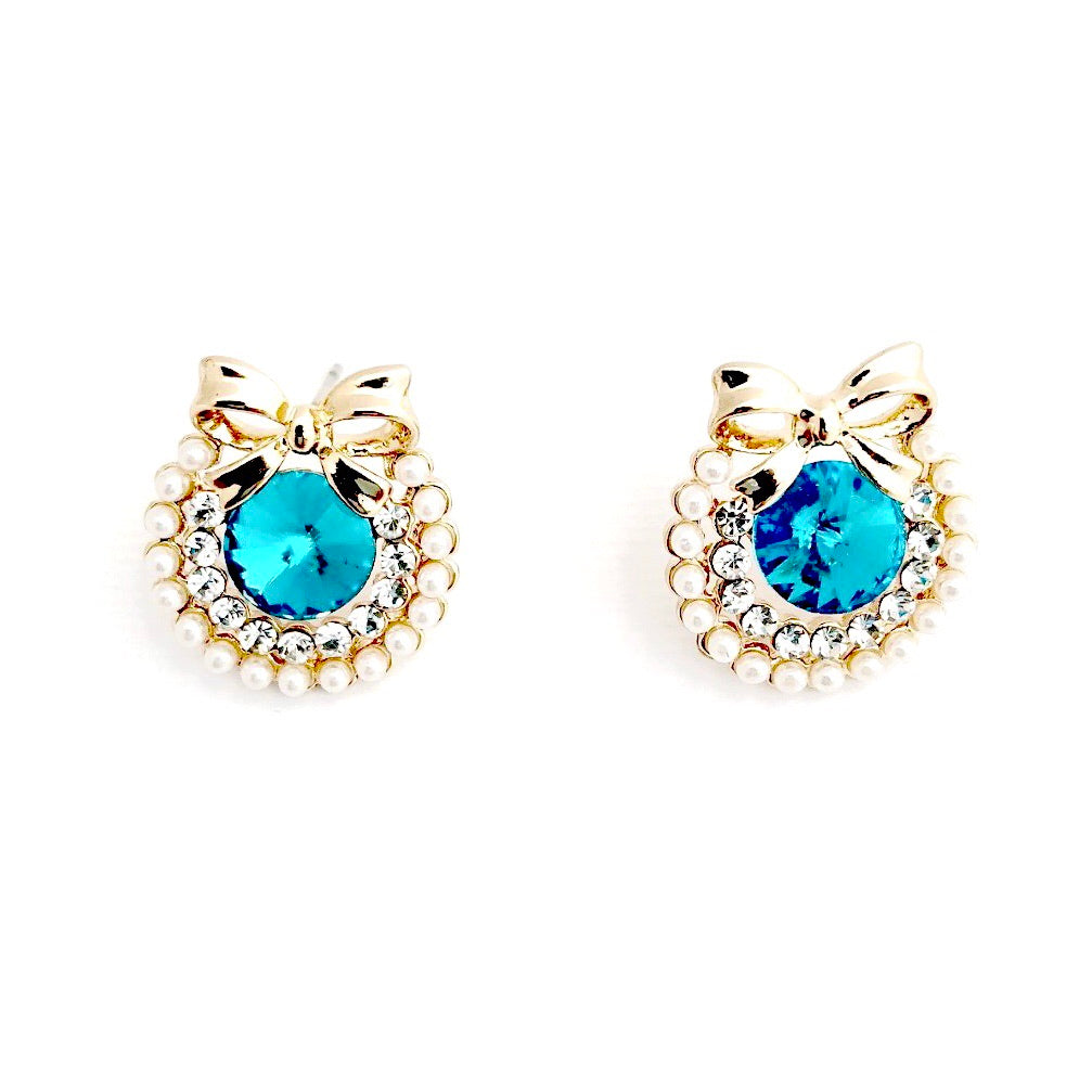 ESN031-Turquoise Blue Jewel Earrings