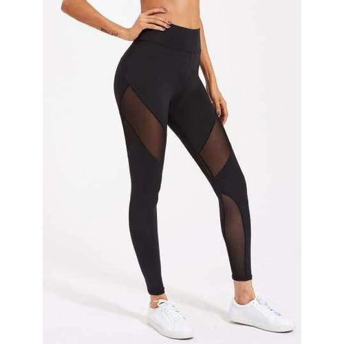 Active Mesh Panel Zip Detail Leggings - Leggings
