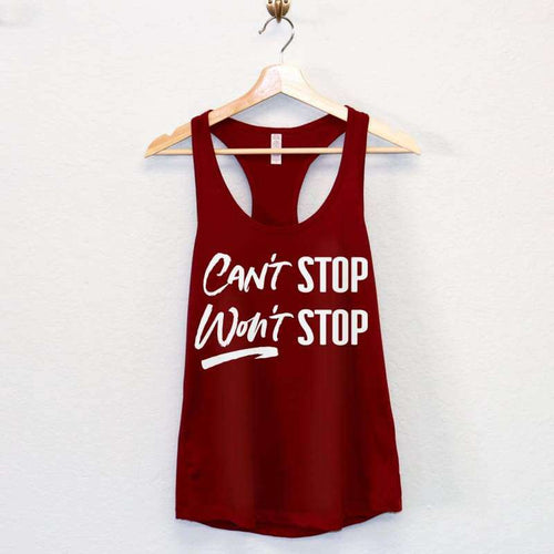 Cant Stop Wont Stop Workout Tank Top - Womens Clothing