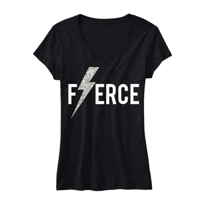 FIERCE Glitter Lightning Black Workout Shirt - Womens Clothing