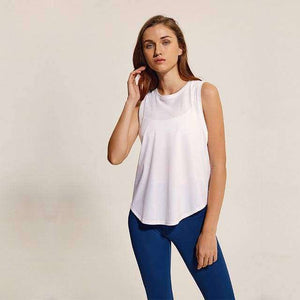 Loose Fit Solid Tank Tops - White / XS