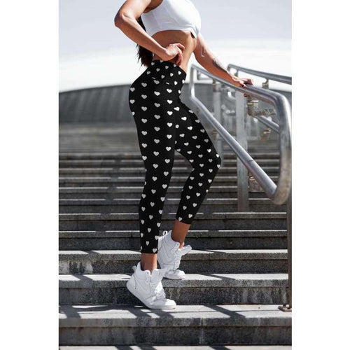 Silver Hearts on Black leggings - Capris and Full Length - Womens Clothing