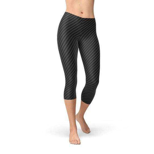 Womens Black Carbon Fiber Capri Leggings - Leggings