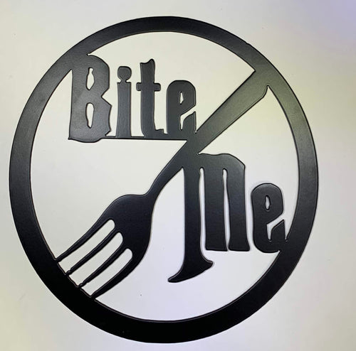 Bite Me Fork Metal Sign