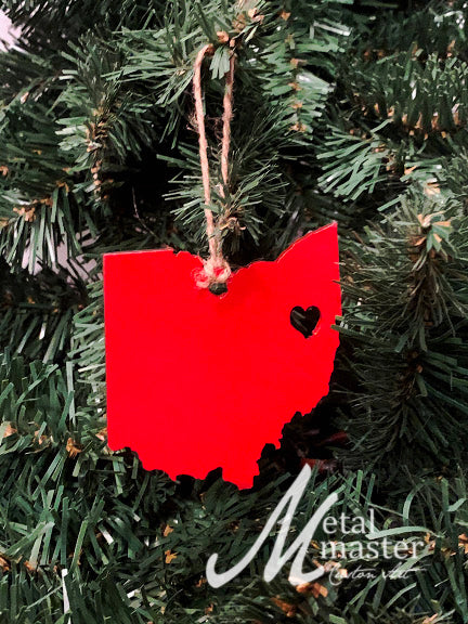 MD State Shape Ornament with Christmas Heart Cutout Heart Maryland Christmas Ornament Maryland Ornament Design by Heart State Shop