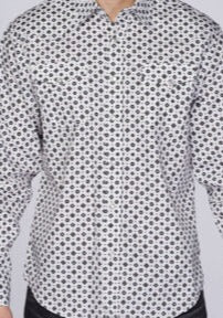 Men's White & Black Print Snap Shirt